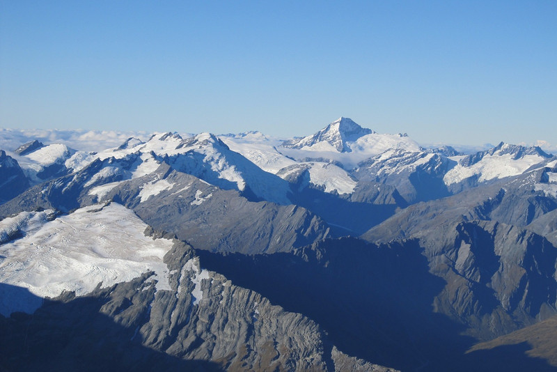 Aspiring from the summit of Earnslaw.