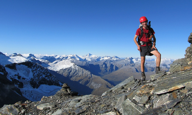 Jaz on route to the East Peak of Earnslaw.