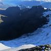 Looking down into the Earnslaw Burn and onto the Earnslaw Glacier.
