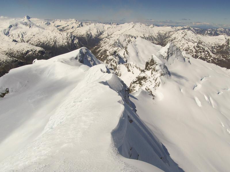 The summit of Mt Head looking towards Moira, Aspiring on the left (photo - James Thornton).