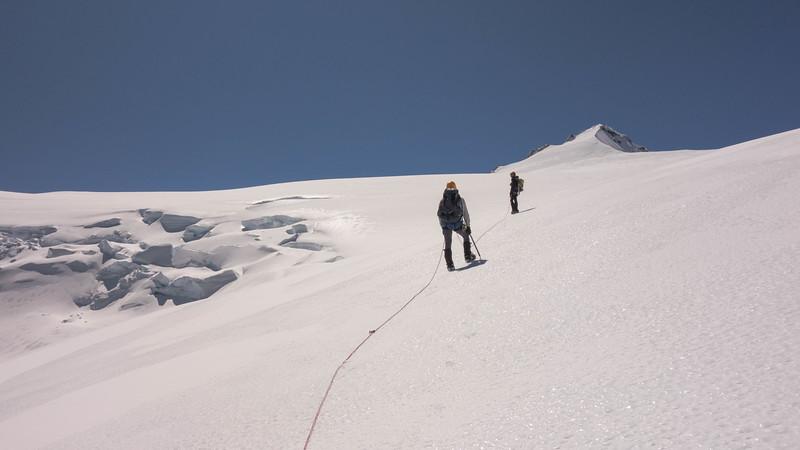 Nearing the summit pyramid of Mt Head.