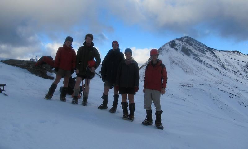 The team in front of Sisyphus, from the left: Nina, Brad, Tom, Kat, Jaz.