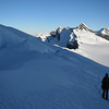 Jaz descending the Bonar Glacier, Mt Avalanche in the background.