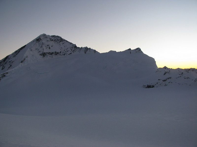 View across the Bonar from the Quarterdeck: South Face of Mt Aspiring, Coxcomb Ridge and Pope's Nose.