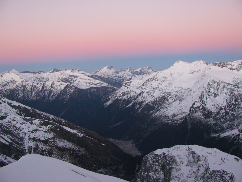 Shovel Flat with Cascade Saddle above, Mt Earnslaw behind, Governor's Ridge of to the right, Mt Tyndall in the far left.