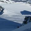 Jaz climbing up the South Face, Bonar Glacier below.