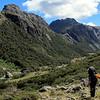 Descending to Barrington Flat looking towards Alabaster Pass.
