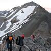 Scrambling up the West ridge.