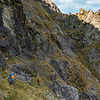 Our route along this ledge turned out to be a dead-end owing to the greasy, bluffy gully in this image.