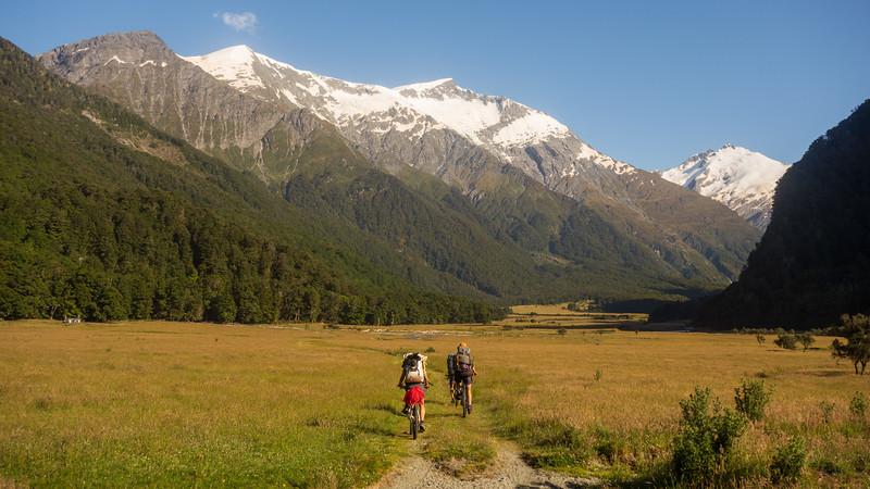 Day 1. Biking up the Matuk to Asipiring Hut (photo - James Thornton).