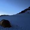 Sunrise at camp below Mt Amundsen.