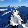 View of our route along the Snowdrift range to Whitbourn Saddle, past the Snowman and Pivot Peak, then down the true left of the Whitbourn Glacier.