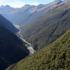 Looking up the Makarora Valley above bushline.