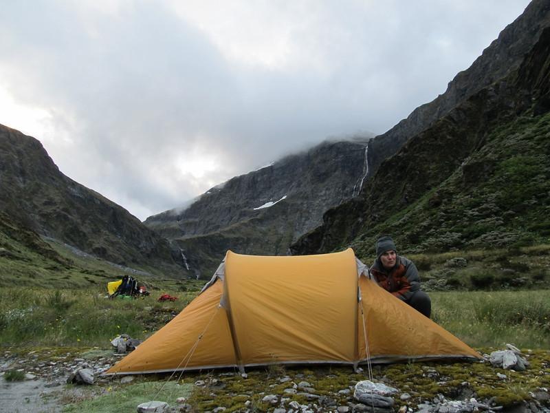 Camp at Waterfall Flat, Waterfall Face behind.