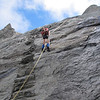 Abseiling the rock step.