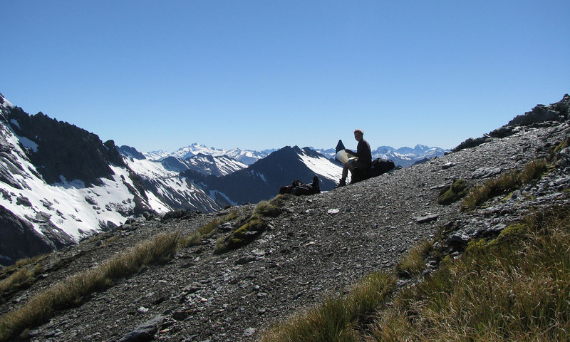 The pass into Tiel Creek. Mt Brewster in the distance.