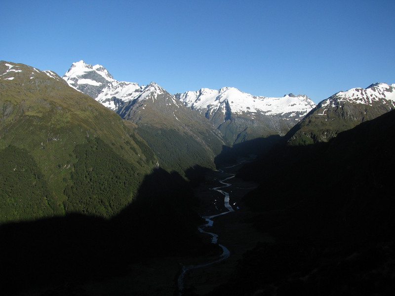 Siberia Valley from the pass to Tiel Creek. Mt Alba in left corner, Mt Dreadful in the middle.