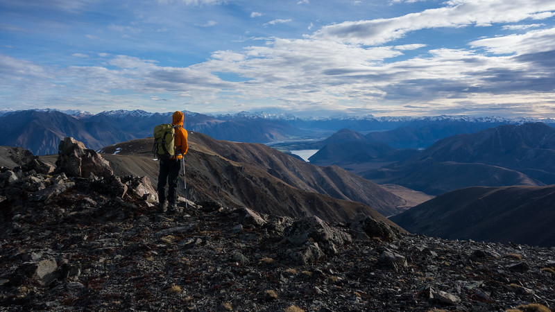 James on the summit of Ben More looking up the Rakaia.
