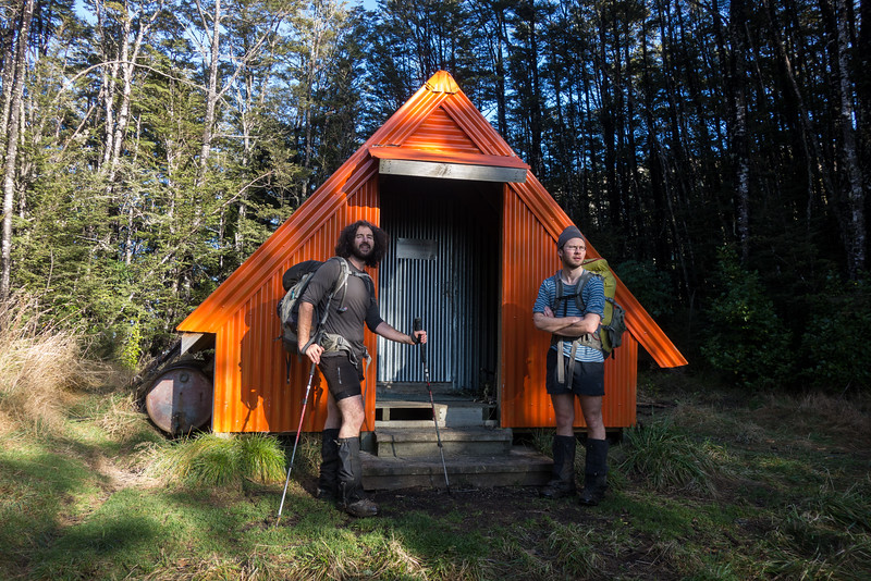 The boys excited to reach Benmore Hut.