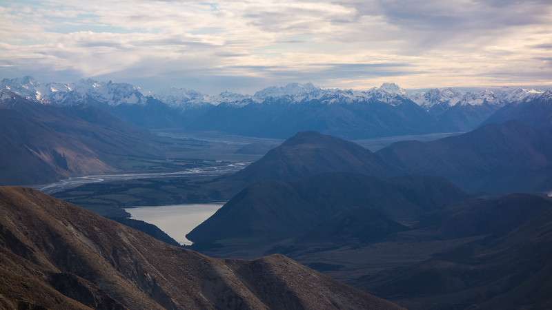 Mts Whitcombe and Evans above the Rakaia-Matthias confluence, Arrowsmiths on the left.
