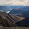 Lake Coleridge (partly in sun, partly in shade), Rakaia and the Southern Alps.