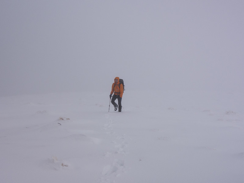 Nearing the summit in a whiteout.