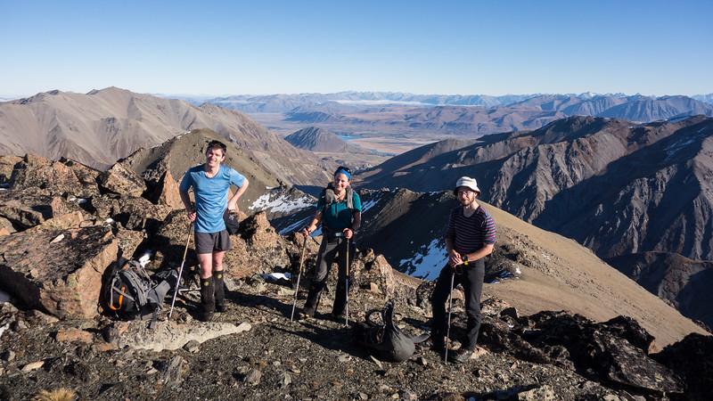 The team minus Scott on the summit of Godley Peak.