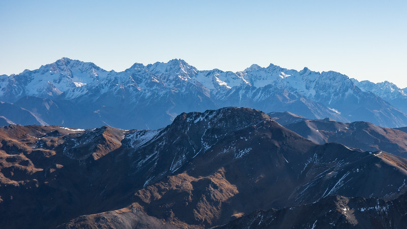 Arrowsmith, Jagged, Red Peak and North Peak.