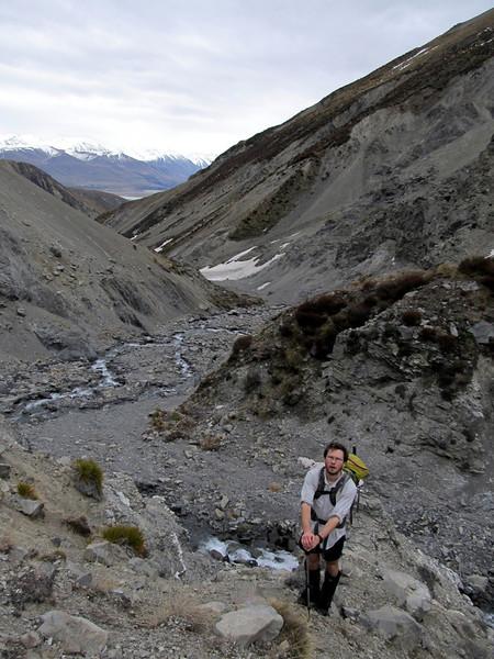 Gaining the west ridge of Mt Taylor, Swin River below.