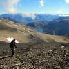 Me descending off Castle Hill Peak, Lake Lyndon below.