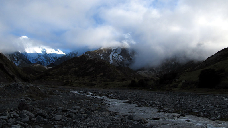 Looking towards the head of the Kowahai, Kowhai Hut on the right.