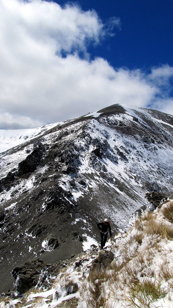 James below Pt. 1714m, Red Peak behind.