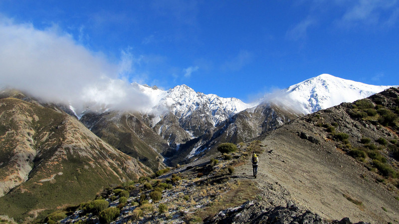 Looking towards the gap from the bottom of the SW ridge of Mt Torlesse.