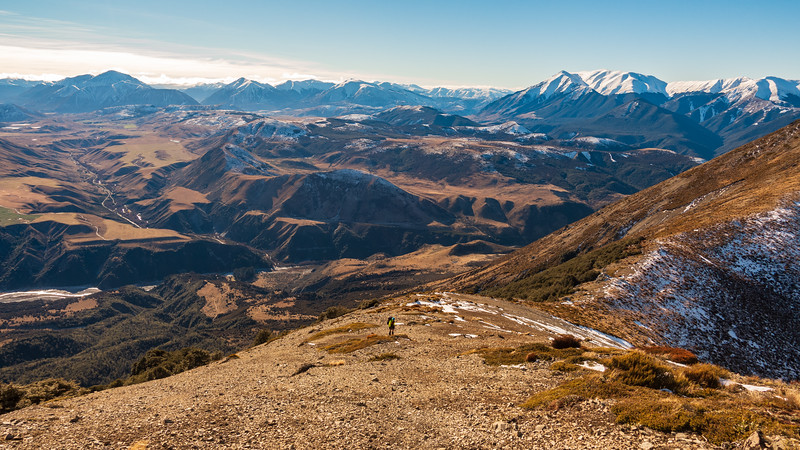 High on the Torlesse Range with the Waimak Basin below, Puketeraki Range on the right.