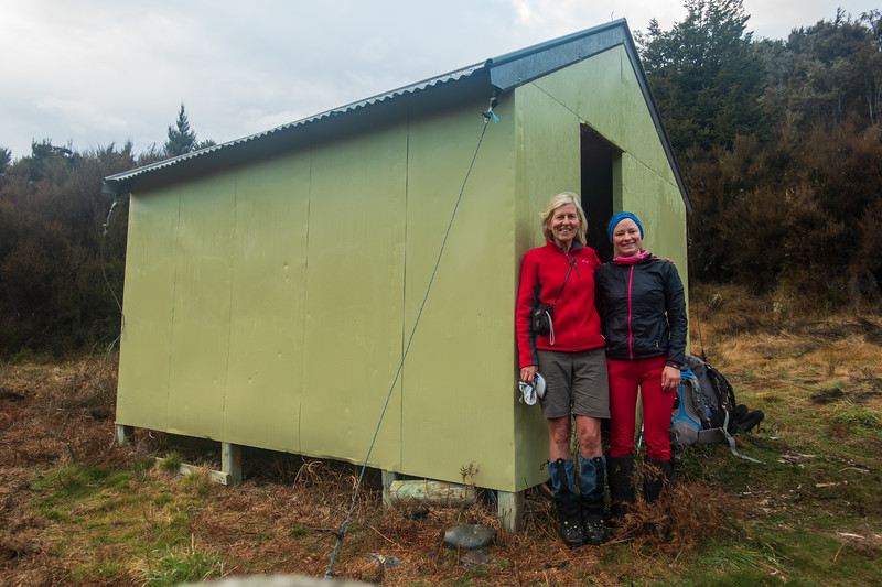 Liz and I ready to tackle the Broken River gorge downstream of the hut.