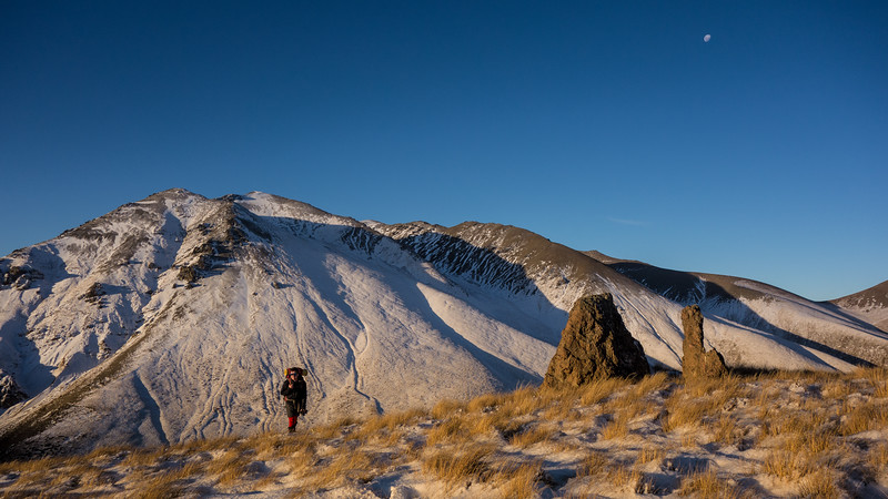 Andrew reaching Rat Hill in beautiful afternoon light.