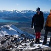James and Andrew on the summit of Steepface Hill, Lake Coleridge below.