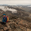 On the named summit of Eyre Peak. Clouds cleared momentarily as we reached the summit.