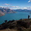 James above Lake Wakatipu looking towards Queenstown with Ben Lomond.
