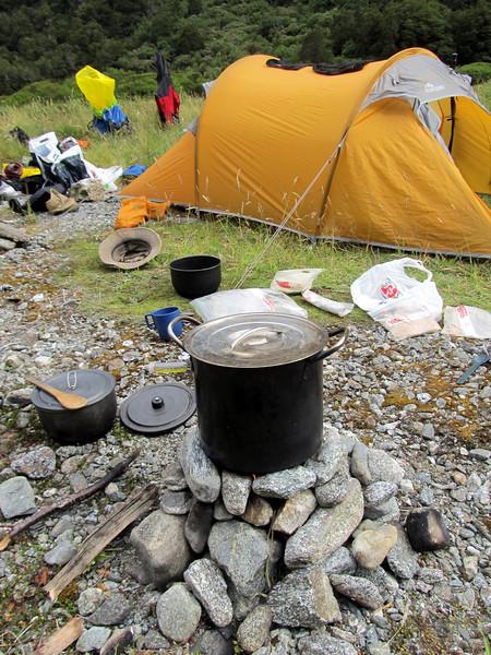 Camp life in Saints Creek.