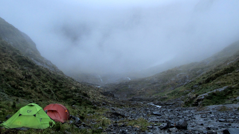Base camp at the head of the Castle on an average misty morning. We set out regardless hoping to cross into the Dark.