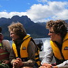 The team enjoying the pleasant boat ride across Lake Te Anau to the Worsley.