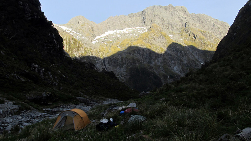 Base Camp at the head of the Caste, view of Castle Mount.