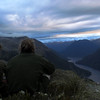 Watching the sunset above the North Fiord of Lake Te Anau.