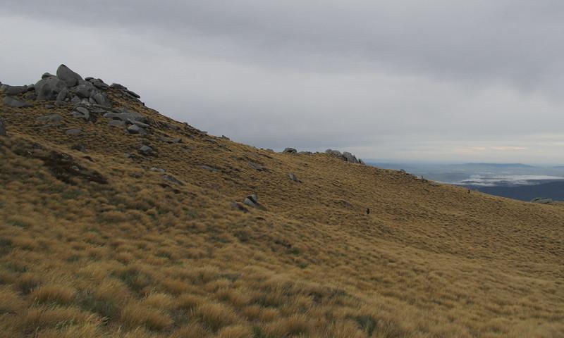 Tussock slopes below Eldrig Peak.