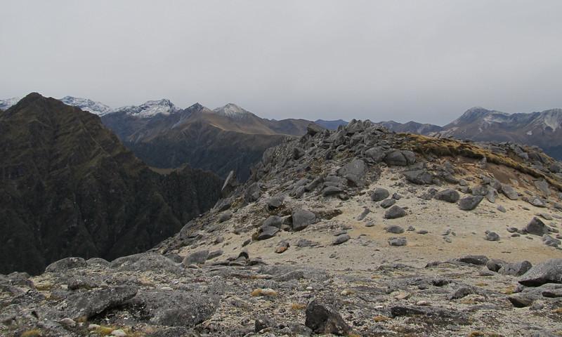 Miniature moonscape below Eldrig Peak.