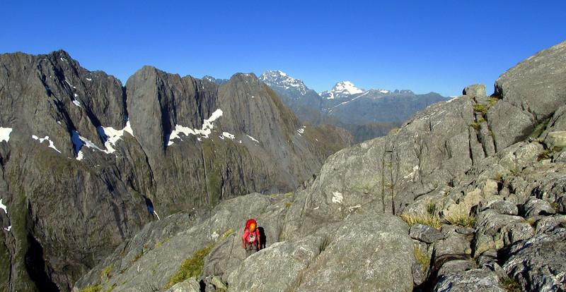 Gaining height, Mitre Peak behind.