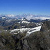 View from the south face of Terror Peak, Lady of the Snows on the right.