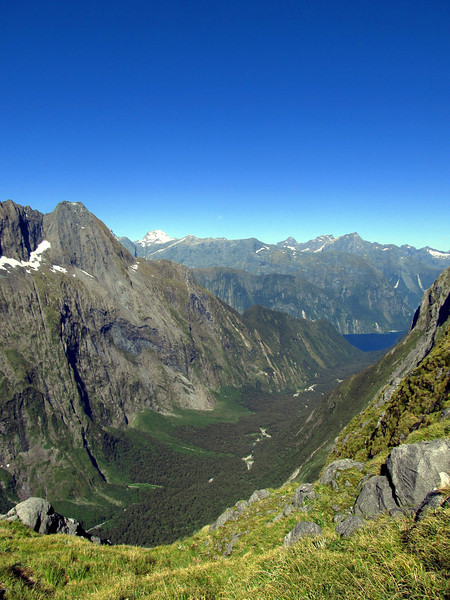 View of Sinbad Gully and Milford Sound, Mitre Peak on the left.