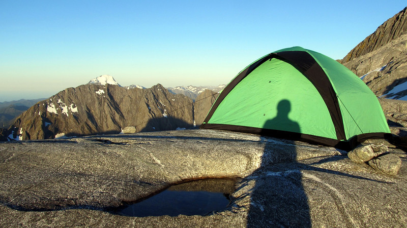 Our campsite below Llawrenny Peaks at the 1700m contour, Mt Pembroke in the distance.